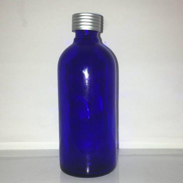 100 ml blå glasflaske