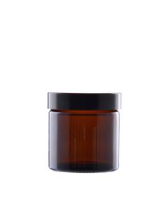 60 ml brun glas med sort låg