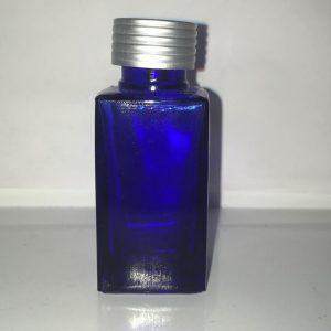 25 ml firkantet blå glasflaske