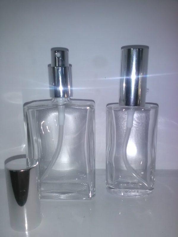 50 og 100 ml glasflasker med sølvspray