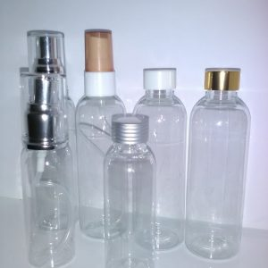 PET flasker i 50 og 100 ml med forskellige låg