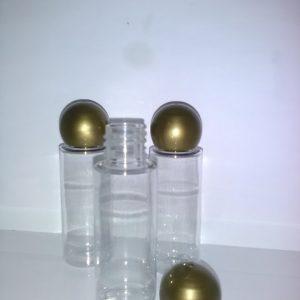 30 ml plastflasme med guldlåg