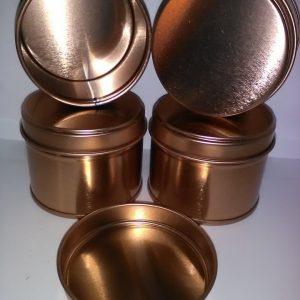100 ml rund tindåse i rose guld.