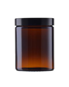 180 ml brun glas med sort bakelit låg